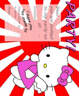 printable invitation templates, free printable greeting card hello kitty