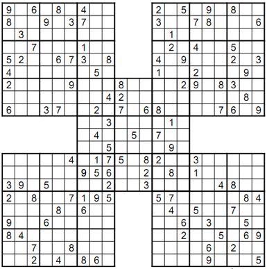 Mesmerizing image in printable samuri sudoku