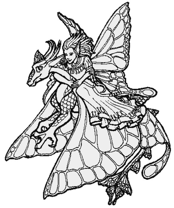 fairy coloring page with dragon - Coloring Pages Dragons Fairies
