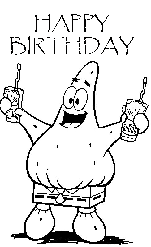 spongebob birthday coloring pages - photo#7