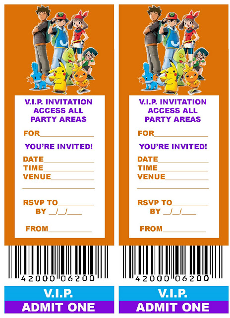 free printable vip ticket style birthday party invitation