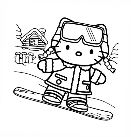 and here are some more Hello Kitty Christmas Holiday coloring pages - so