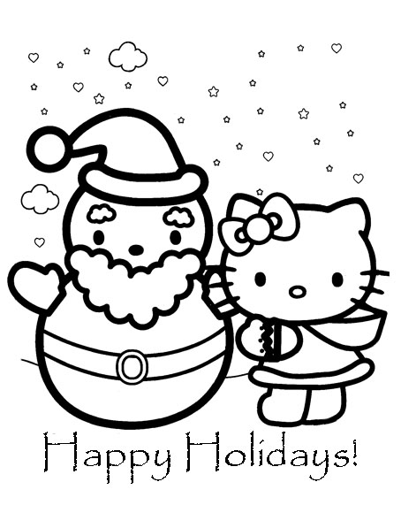 Here are more Happy Holidays Hello Kitty coloring sheets title=
