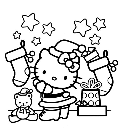 Printable Coloring Pages Hello Kitty Christmas : Hello kitty christmas coloring sheets