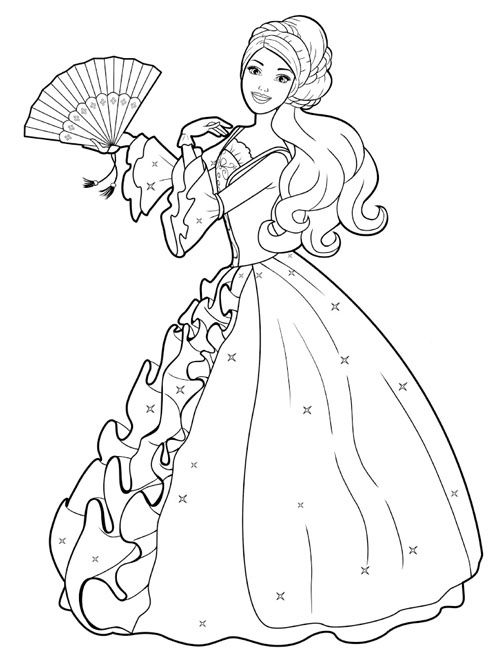 PRINCESS BARBIE COLORING PAGES