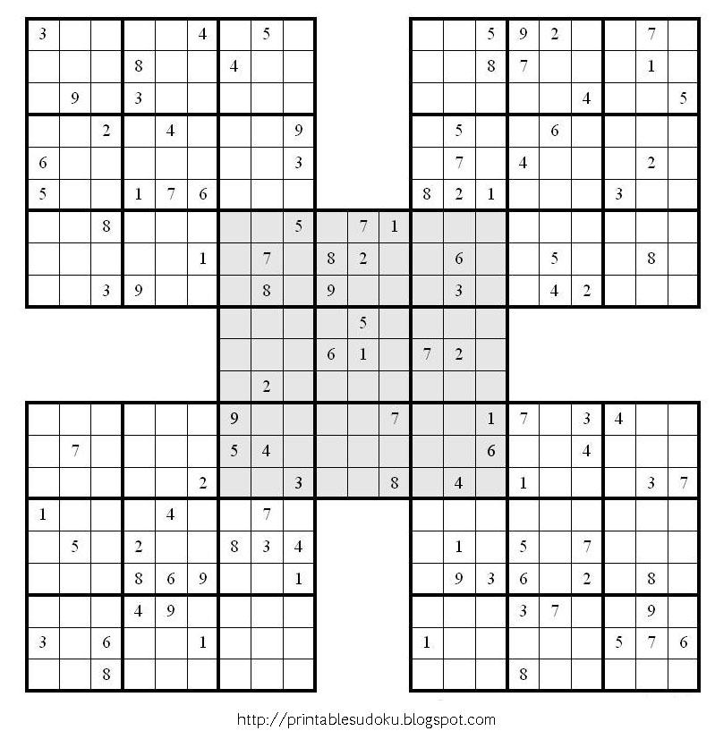 Hard Sudoku Printable Blue Samurai Sudoku Puzzle Easy Sudoku | Short ...