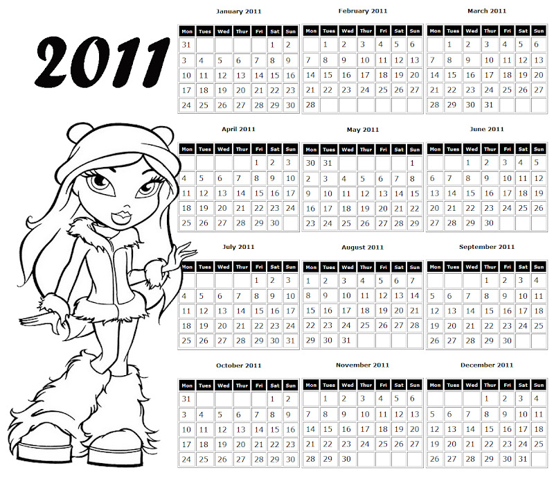This is a free, printable Bratz calendar for 2011 - it has a picture  title=