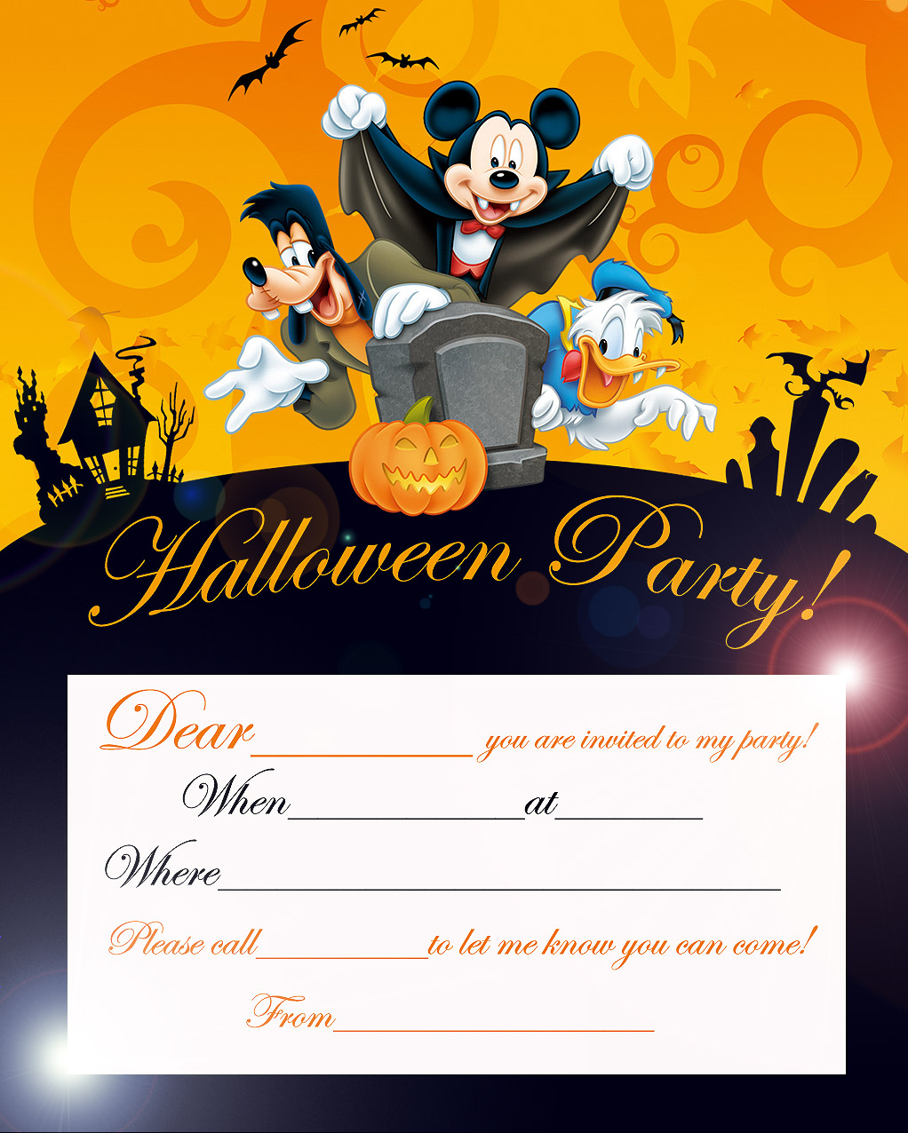 Halloween party invitations mickey mouse donald duck and for Where to have a halloween party
