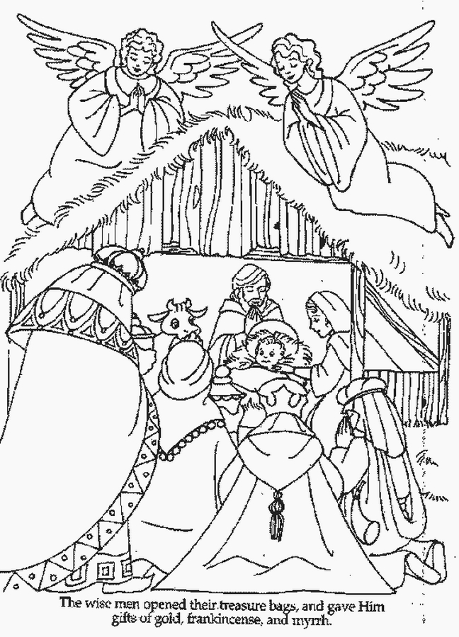 Coloring Pages For Christmas Nativity : XMAS COLORING PAGES