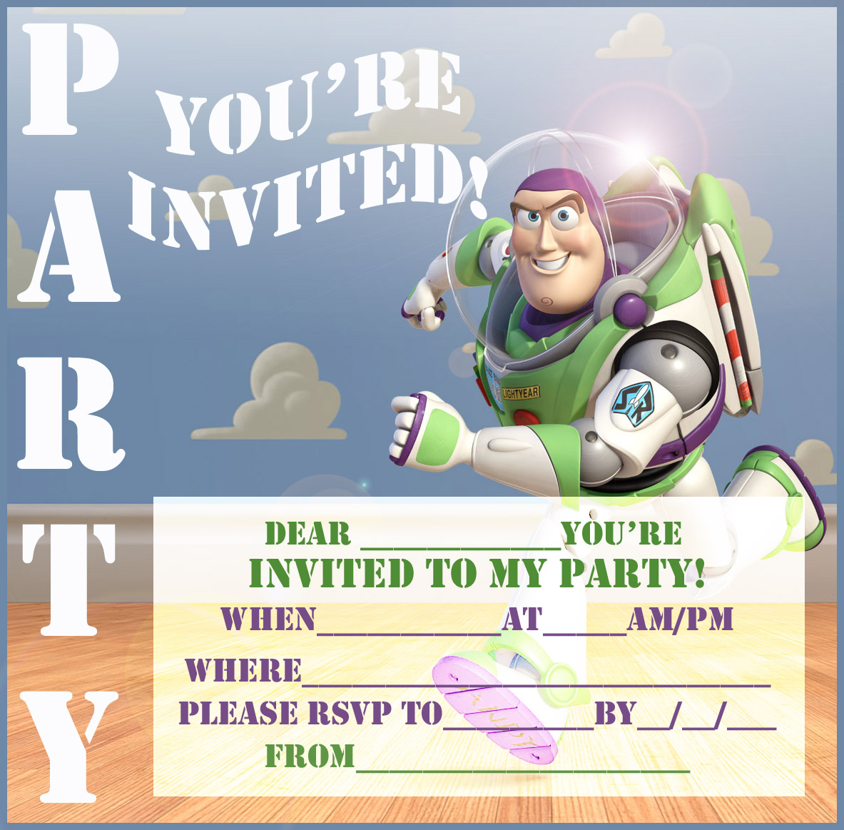 Disney Coloring Pages Free Buzz Lightyear Party Invitation To Print