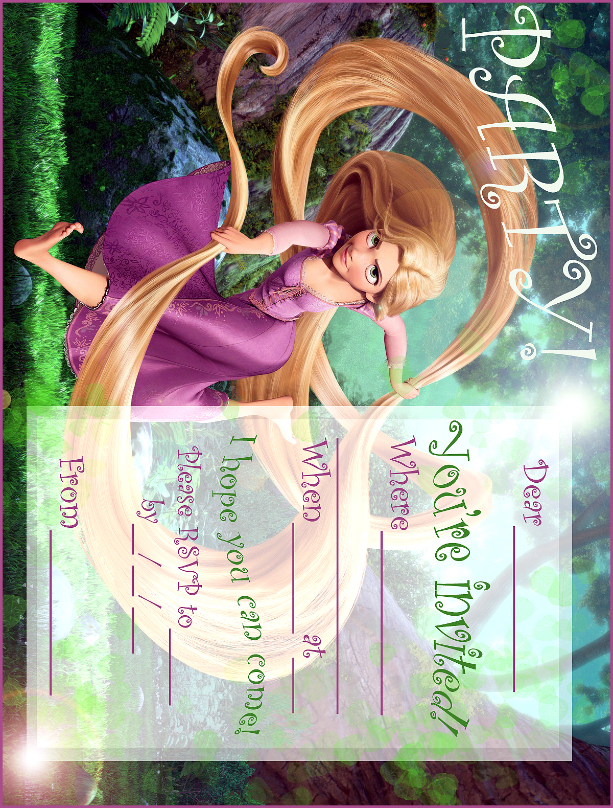 FREE PRINTABLE RAPUNZEL PARTY INVITATION FROM TANGLED Marketing