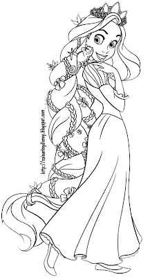 TANGLED COLORING PAGES OF RAPUNZEL