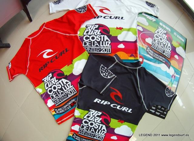 3bc9e7cded1 Ya está lista la imagen de los surfers participantes en el circuito RIP CURL  COSTA DE LA LUZ 2011. Licras y camisetas para los competidores  especialmente ...