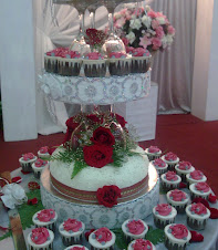 wedding cake+cupcakes