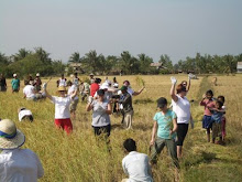 CAMBODIA: Harvesting rice