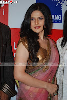 Zareen Khan Pink Sarees Photos