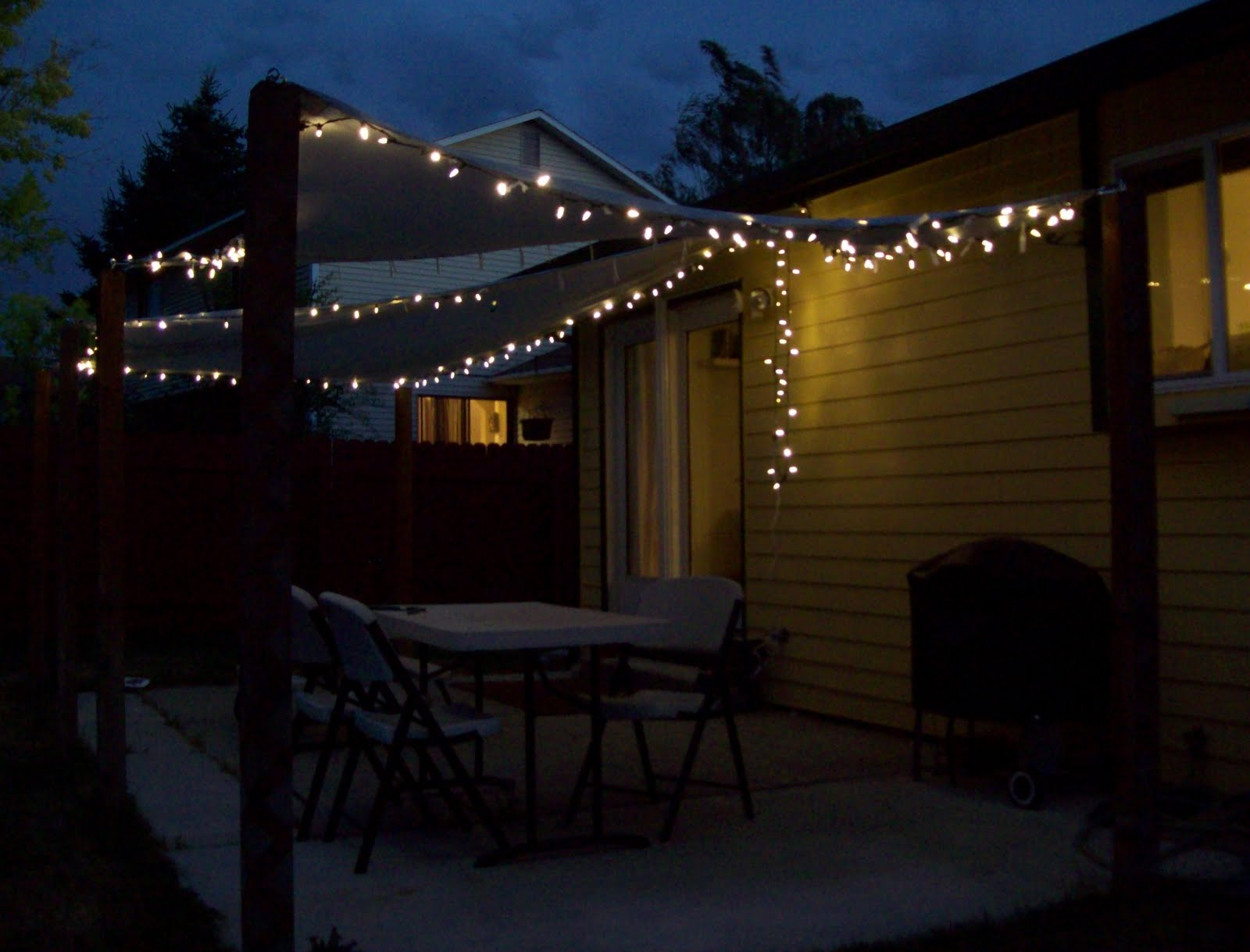 Running with scissors patio shade sails for Terrace lighting