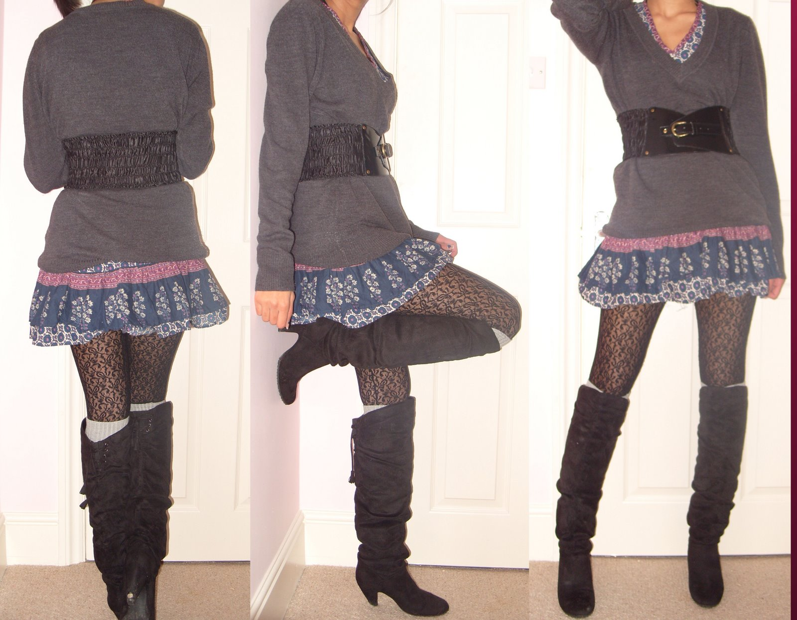 black over the knee boots russian gypsy dress corset belt