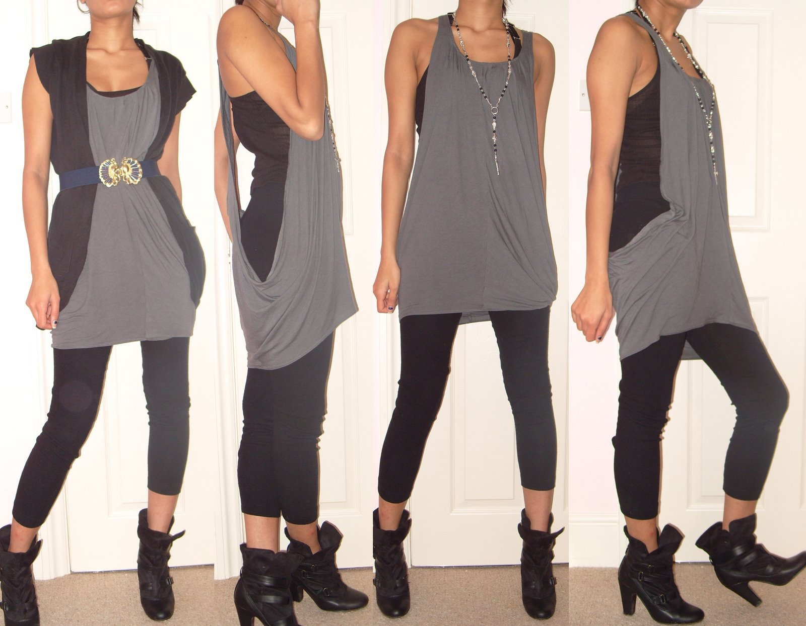 Slouchy grey Bershka dress tshirt dress ankle boots