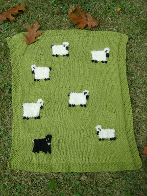 Flutterby Patch: Knitted sheep in woolly land