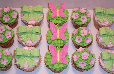 the icing on the cake pink and green baby shower cupcakes