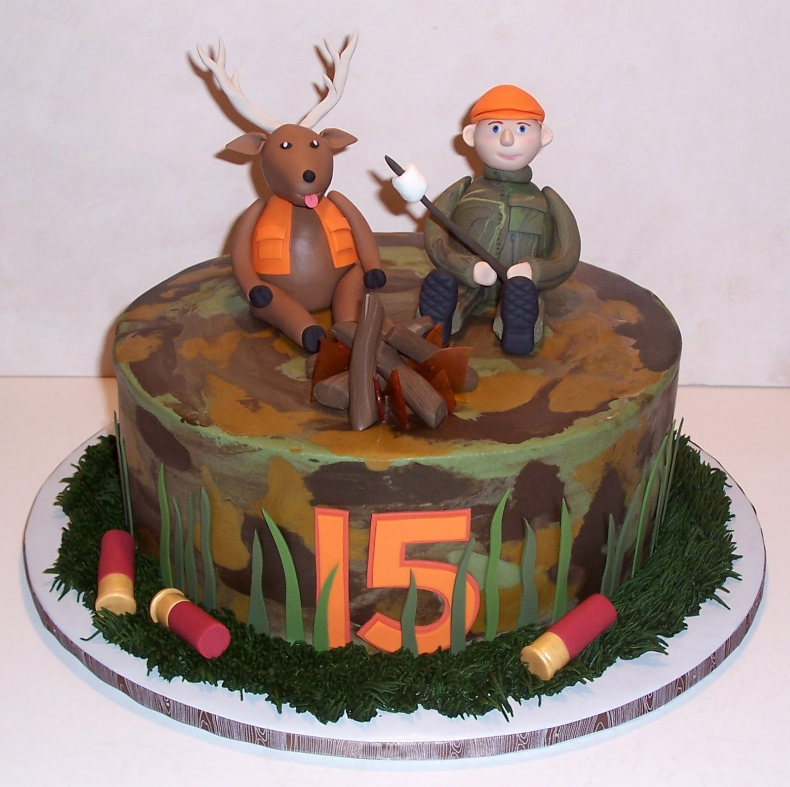 Happy Birthday Cake With Deer And Turkey