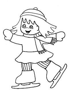 niña patinando colorear invierno