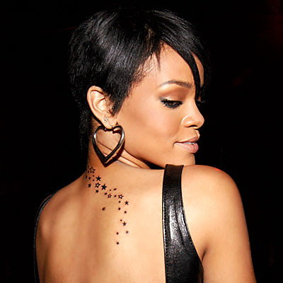 Rihanna Celebrity Star Upper Back Tattoo Design