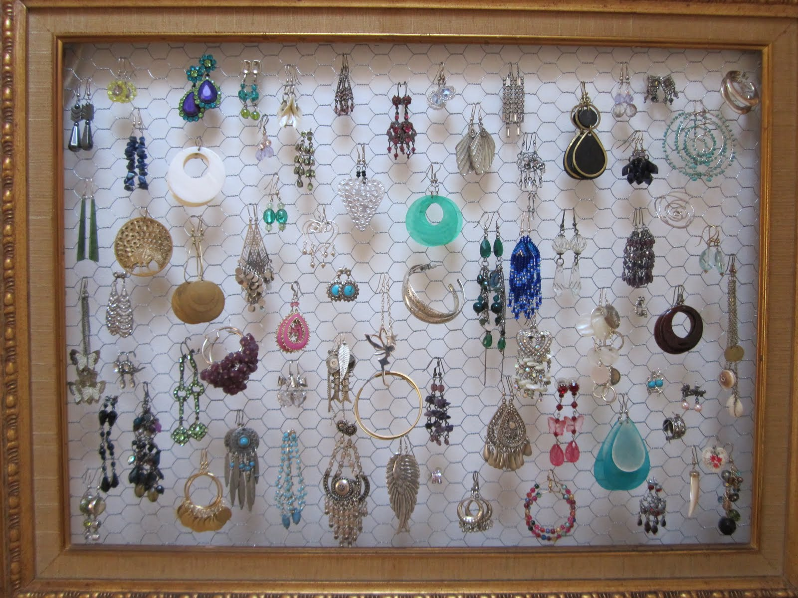 how to make an earring display from an old frame and some chicken ...