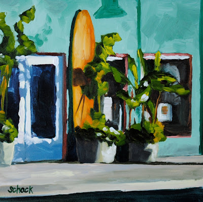 surf shop oil painting