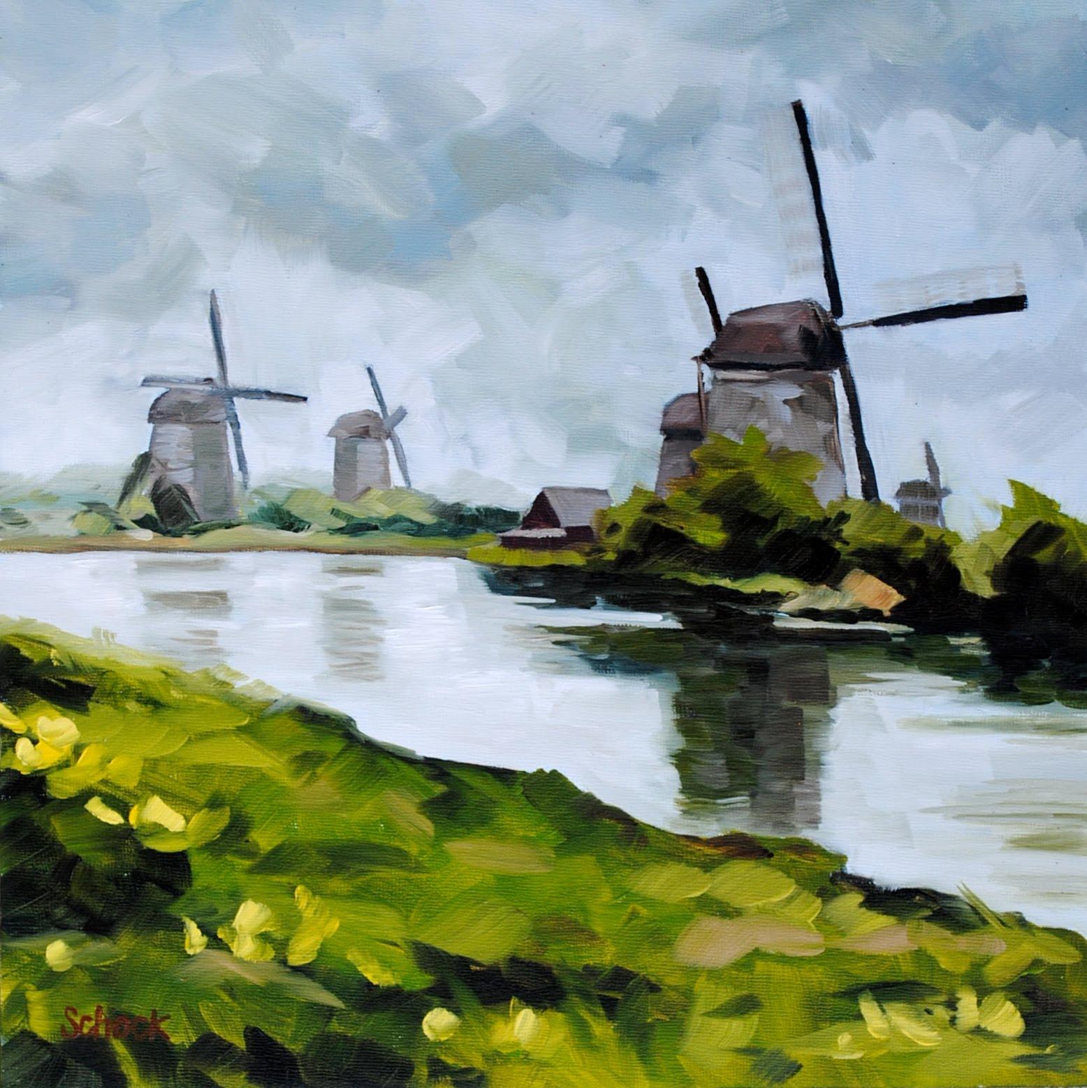 greta s windmills dutch landscape painting 10x10 sharon schock art