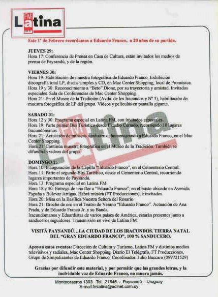 PROGRAMA  DE ACTIVIDADES  POR LOS  20 AÑOS  DE LA PARTIDA  FISICA DE EDUARDO FRANCO