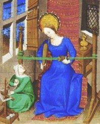 Keskiaikaisen Tuntienkirjan Maria kutoo lautanauhaa