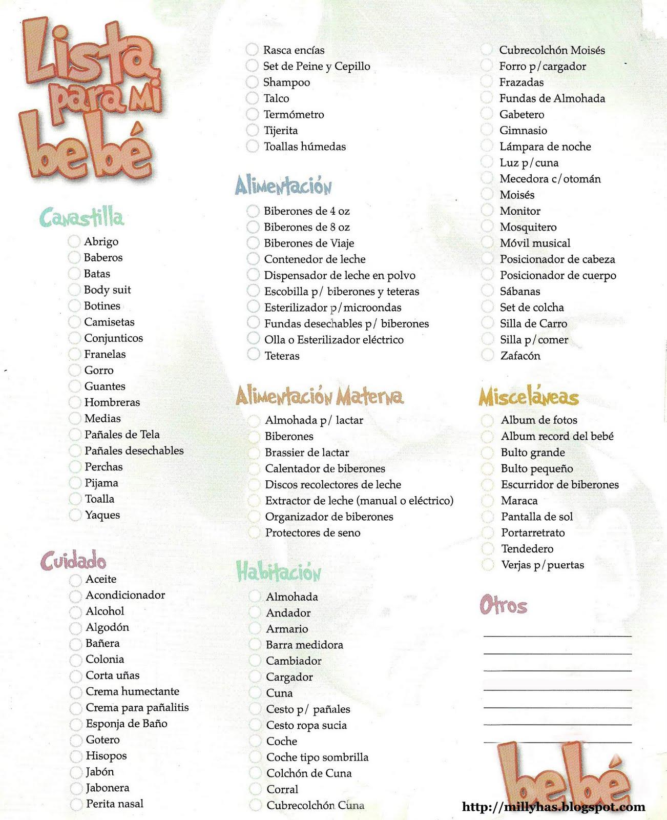 Millyhas777 Lista De Baby Shower