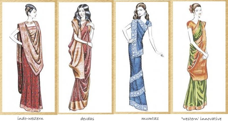 different styles draping saree