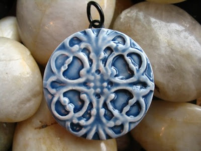 polymer clay, faux ceramic pendant