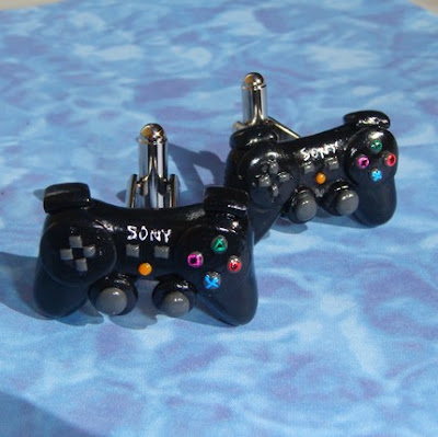 Sony Playstation 3 Controller polymer clay cuff links