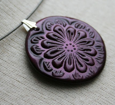 polymer clay, stamped, jewelry