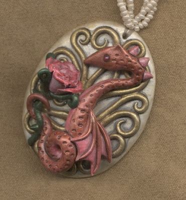 polymer clay dragons pendant