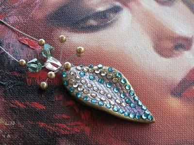polymer clay and Swarovski crystals jewelry