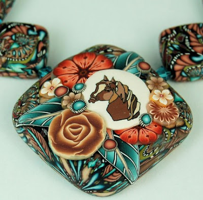 polymer clay flower cane bead
