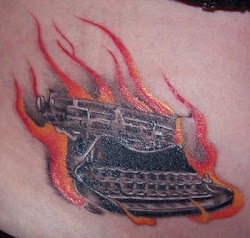 Flaming Typewriter Tattoo