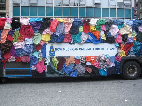 Laundry detergent bus advertisement