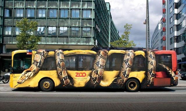 Zoo snake bus advertisement