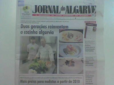 notícia Jornal do Algarve cozinha mediterrânica chef Augusto e Miguel Lima