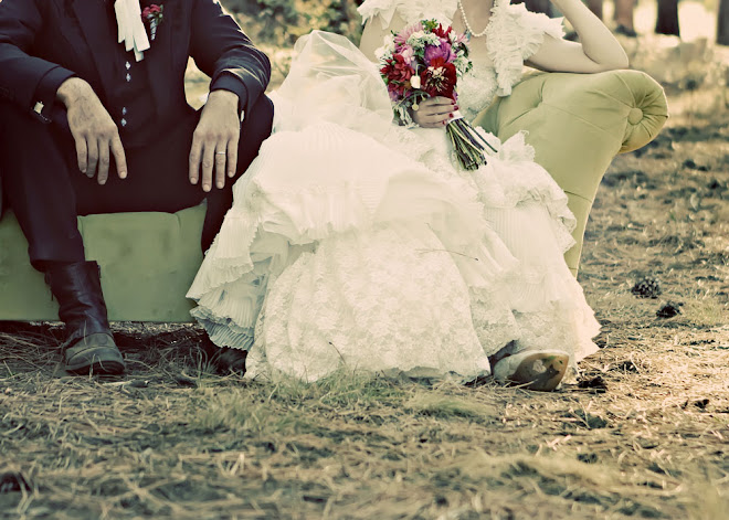 bride and groom resting