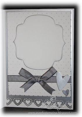 Wedding card made with Stampin Up Whisper White cardstock and a Martha Stewart punch - inside