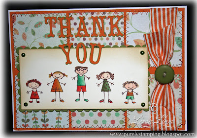 Pumpkin Pie Stampin' Up! Thank You card with Grosgrain striped ribbon