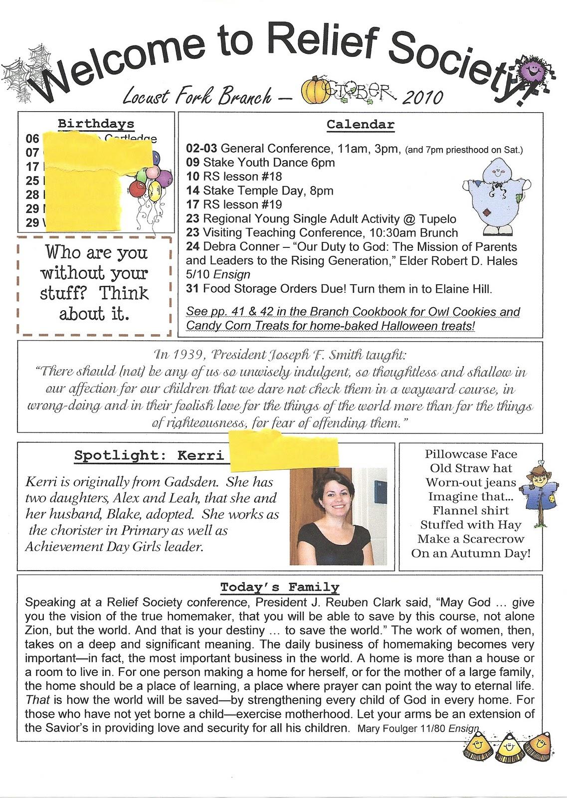 Homemaker's Journal: Church Newsletter Ideas