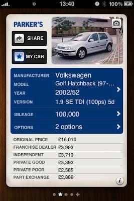 Parkers car price iphone app